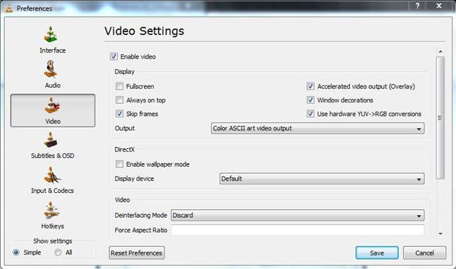VLC Media Player ASCII Mode