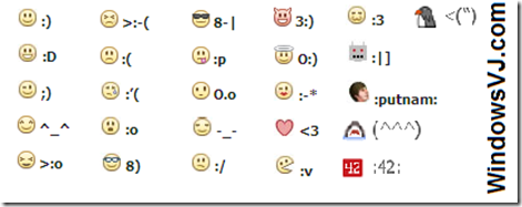 Here are the emoticon codes